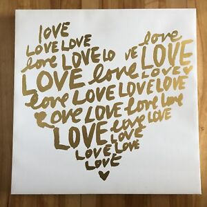 "18 x 18"" WHITE CANVAS WITH GOLD FOIL GRAPHIC"