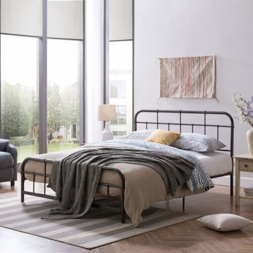 Sylvia Queen-Size Iron Bed Frame, Minimal, Industrial Beds & Bed Frames
