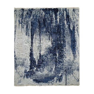 10'x10' Square Wool & Silk Shibori Design Tone On Tone Hand Knotted Rug R48234