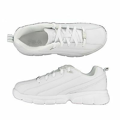 Men Fila LEVERAGE 1SC086/119 White/Silver Lace-Up Training Running Shoes