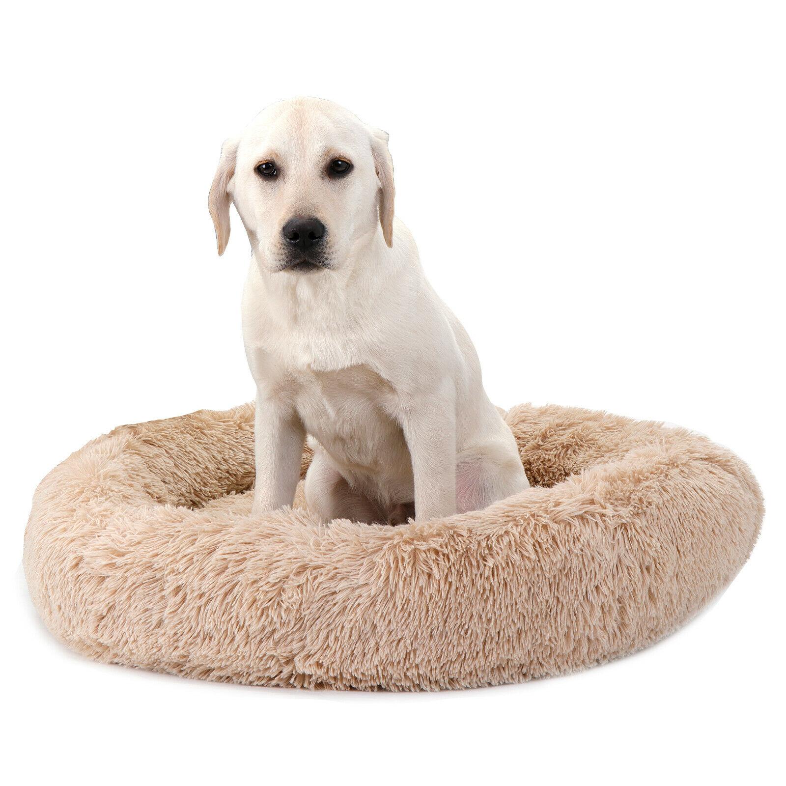 30″x30″ Shaggy Fluffy Pet Bed Dog Cat Donut Cuddler Cushion Mats Machine Beds