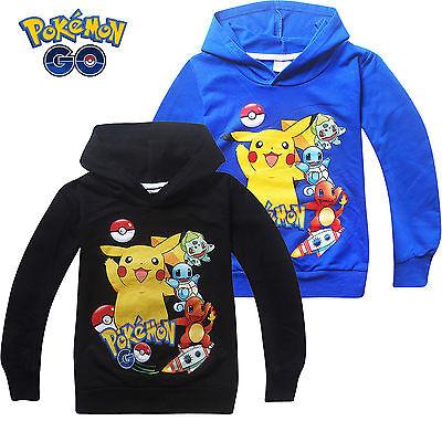 Kids Pokemon Characters Sweatshirt Hoodies Boys Girls Cotton Tops Jumper Coats - Pokemon Boy Characters