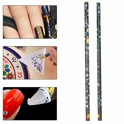 2Pcs Gem Crystal Rhinestones Picker Pencil Nail Art Craft Decor Tool Wax Pen US 3D Nail Art Design