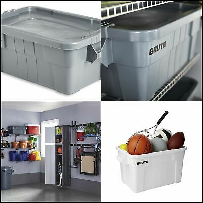 Commercial Tote Storage Bin with Lid 14 Gallon Gray Measures
