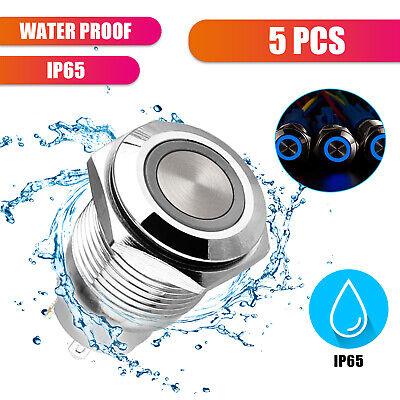 5pcs Waterproof 19mm Round Dash Blue Led Light Power Push 4 Pin Button Switch