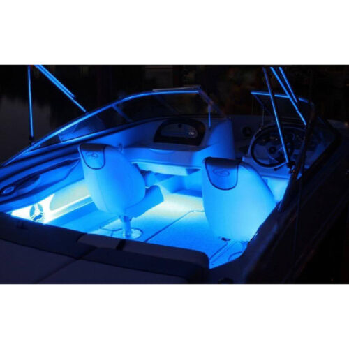 "4Pc 12"" Marine Party Ski Boat Boating Yacht 15 Blue LED Waterproof Light Strips"