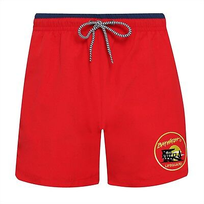 BAYWATCH ® Embroidered Licenced Red / Navy Lifeguard Swim Shorts (AF) - Baywatch Costume