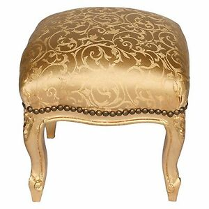 Hocker Barock Paisley Muster Gold Schemel Jugendstil Holz Schemel Arabeske glanz
