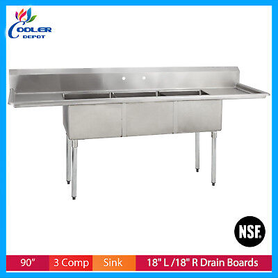 3-compartment Sink Commercial 90 Stainless Steel Sink 3 Bay Commercial Sink Nsf