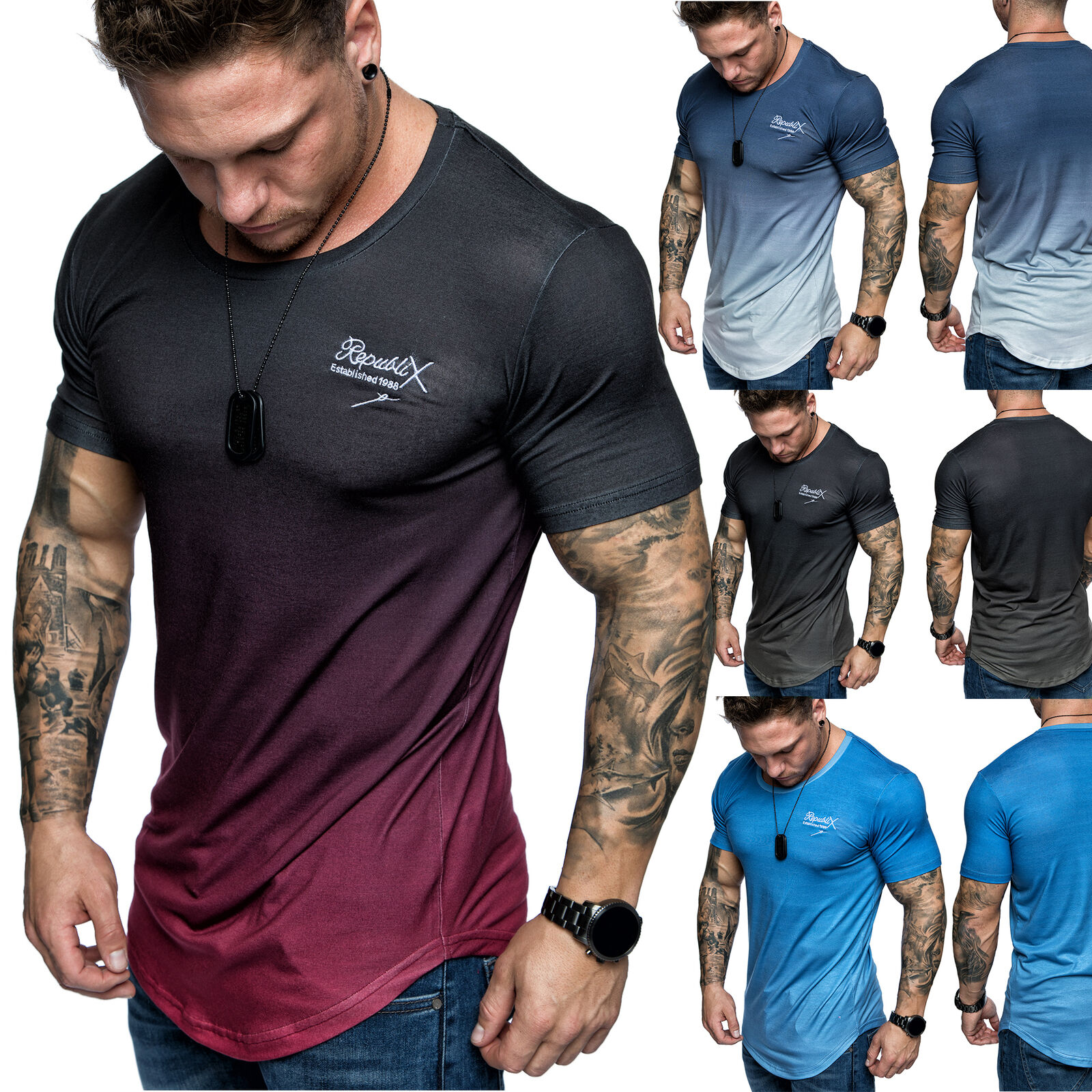 Oversize Herren Crew Neck Body-Fit Waterfall Design Shirt Sommer T-Shirt R-0037