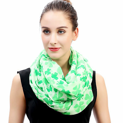 Clover Shamrock Print Women Infinity Scarf St Patrick Day Gift Idea for - Spring Day Ideas