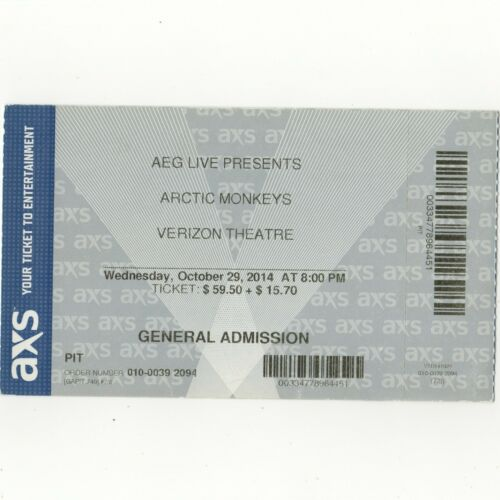 ARCTIC MONKEYS & MINI MANSIONS Concert Ticket Stub 10/29/14 GRAND PRAIRIE TEXAS