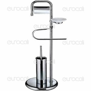 Piantana porta rotolo sapone scopino in metallo accessori arredo bagno pt02 - Porta scopino bagno ...