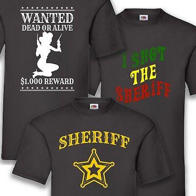 Kostüm Karneval Fasching Sheriff Cowboy Herren T-Shirt Funshirt Shirt - Herren T Shirt Cowboy Kostüm