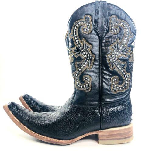 Donaldo, Cowboy, Boots, Mens, US, 7.5, M, Black, Crocodile, Skin, Embroidered, Shaft, VTG