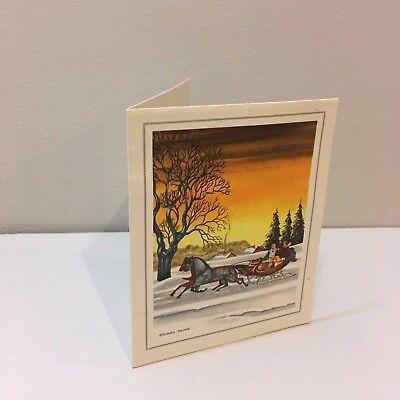 Vintage Christmas Card Horse Sleigh Edward Paine Art Print