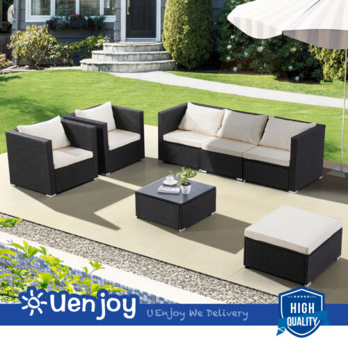 Garden Furniture - 7 Piece Outdoor Patio PE Rattan Wicker Sofa Set Backyard Garden Furniture Black