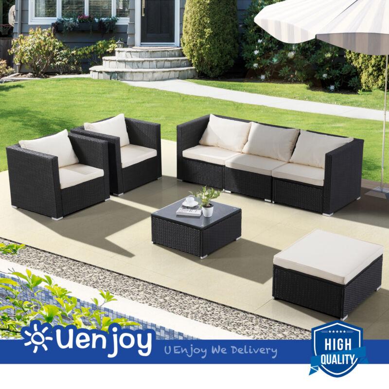 7 Piece Outdoor Patio Pe Rattan Wicker Sofa Set Backyard Garden Furniture Black