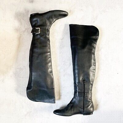 Cole Haan Boots 6.5B Black Leather Over The Knee Foldover Marisol Tall Air $250