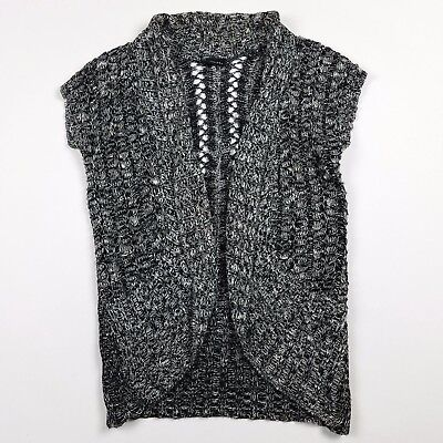 Rue 21 Cardigan Sweater Chunky Size Medium Open Front Black Gray Metallic S13