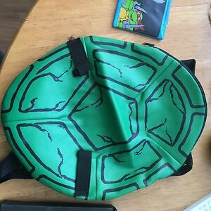 Vintage ninja turtles shell backpack and school supplies