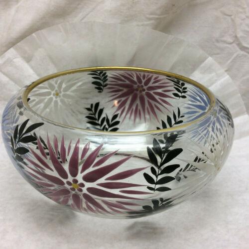Vintage Glass Bowl Ornate Flower Design Painted