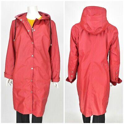 Womens Ilse Jacobsen Rubber Rain Coat Jacket Red Hooded Size M