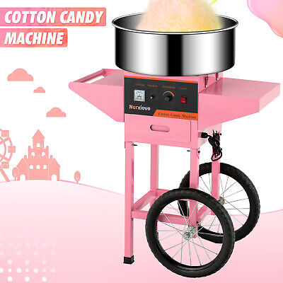 Electric Commercial Cotton Candy Machine Candy Floss Maker With Cart 20 Pink