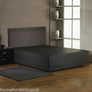 Hf4you Fabric Divan Bed Base Charcoal Black Cream