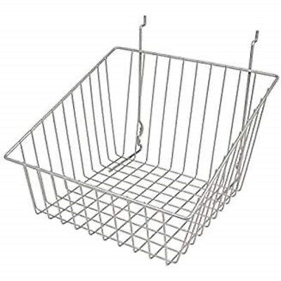 Only Hangers Sloped Front Wire Basket For Gridwall Chrome 3 Pcs