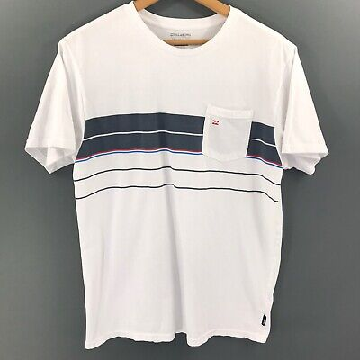 Billabong Mens White Graphic Short Sleeve T Shirt with Pocket, Mens Size XL
