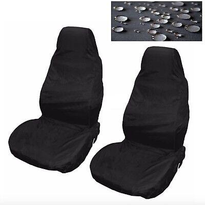 Car Seat Covers Waterproof Nylon Front 2 Protectors Plain Black fits Alfa Romeo