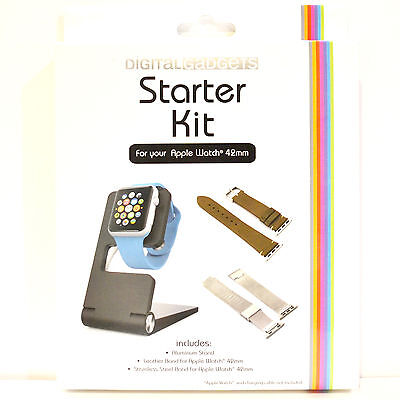 New Starter Kit for Apple Watch 42mm - Leather & Stainless Steel Band & Stand