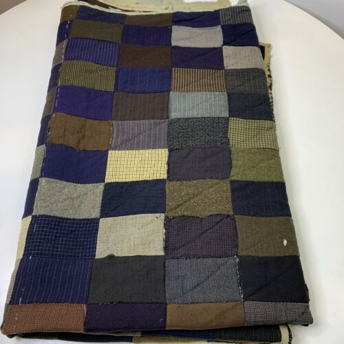 vintage hand sewn quilt coverlet wool square pattern brown blue plaid 60x73