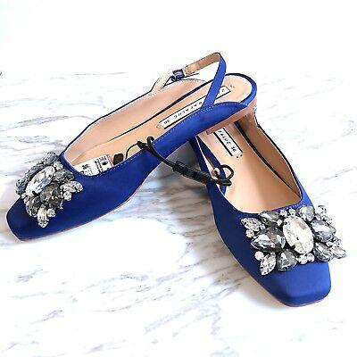 Zara Women Bejeweled Blue Satin Slingback Flats Shoes Size 6 New