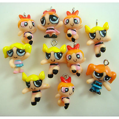 Powerpuff Girls Diy (10 pcs Powerpuff Girls DIY Pvc Jewelry Making Assorted Figures Charms)