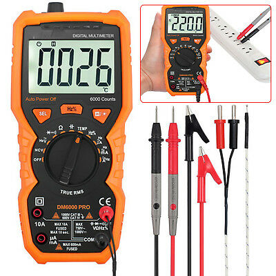 Digital Multimeter True Rms Auto Range Acdc Voltage Current 6000 Counts Tester