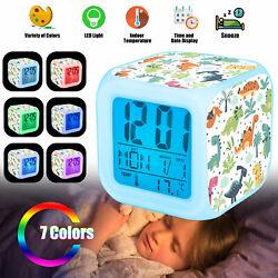 Kids LED Dinosaur Night Light Digital Alarm Clock 8 Music 7 Colors Changing Lamp