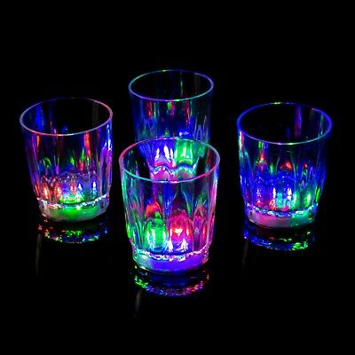 48 Plastic LED Flashing Shot Glasses Light Up Luminous Barware Party Wedding UK - Plastic Party Glassware