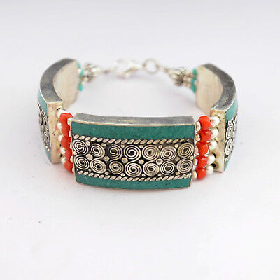 "Turquoise Coral 7"" Bracelet Tibetan Nepalese Handmade Tibet Nepal BR877"