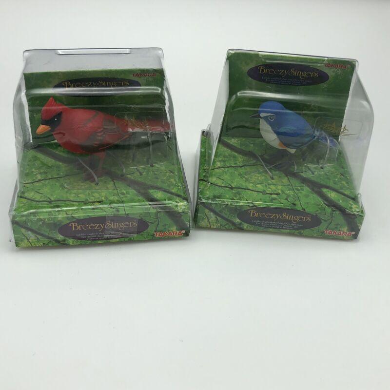 BREEZY SINGERS CARDINAL & BLUEBIRD NEW IN BOX 1991 TAKARA BIRD SINGER