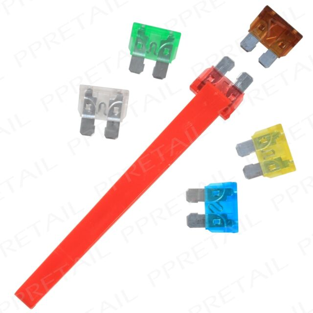 AUTOMOTIVE FUSE REMOVER + 6 STANDARD FUSES Puller/Extractor/Insertion Car Tool