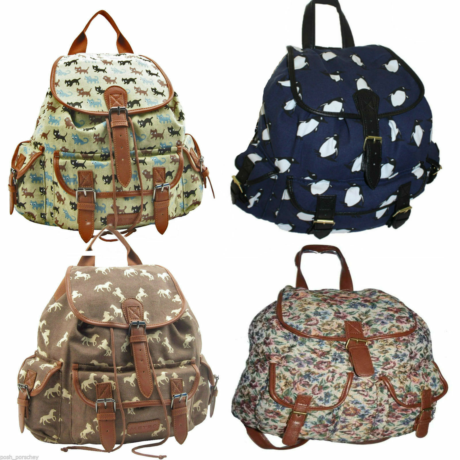 36762620acc Ladies Girls Large Animal Cats Rucksack Backpack Duffle School Gym ...