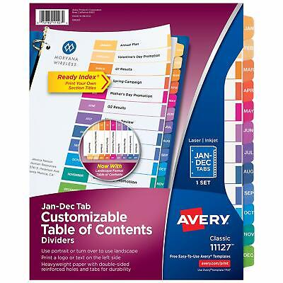Avery Customizable Table Of Contents Dividers 12-tab Set Multicolor 111..