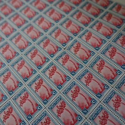Feuille de Piezas Sheet Guatemala N º 279 x100 Quetzal 1937 Cara