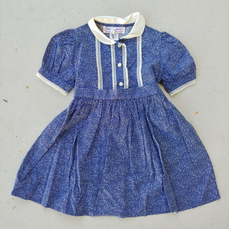 Vintage Marshall Sinclair Navy Blue White Short Sleeve Dress Lace Detail Size 5