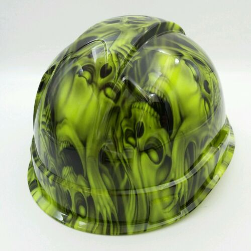 Hard Hat custom hydro dipped , OSHA approved see,hear no evil SKULLS, NEW !! 3