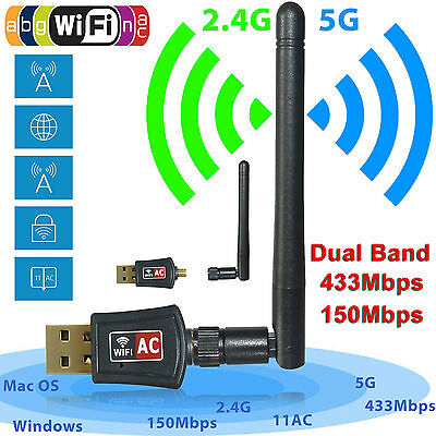 600 Mbps Dual Band 2 4 5Ghz Wireless Usb Wifi Network Adapter W Antenna 802 11Ac