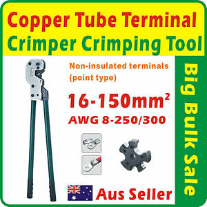 16 150mm copper tube terminal crimper crimping tool awg 8 250 300 non insulated ebay. Black Bedroom Furniture Sets. Home Design Ideas