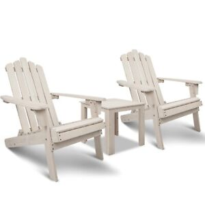 Manly 3PCS Outdoor Beach Chair and Table Set White